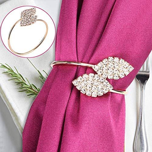 Acogedor Serviettenringe, aus Metall und Strass, Tischdekoration, für Hochzeit, Weihnachten oder andere Feiern im Haus oder Hotel, goldfarben