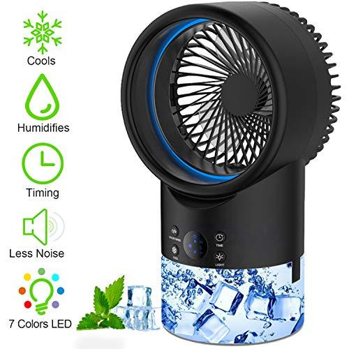 EEIEER Aire Acondicionado Portatil, Enfriador de Aire silencioso Climatizadores Evaporativos Móvil con Función Humidificador de Aire 2 Modos y 3 Velocidades 7 Colores Luz