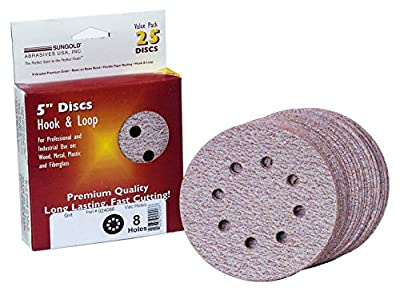 Sungold Abrasives 024066 5-Inch by 8 Hole 80 Grit Premium Plus C Weight Paper Hook and Loop Discs, 25-Pack