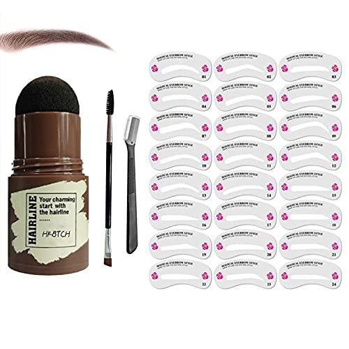 Augenbrauen Stempel, Wiederverwendbares Makeup Brow Stamp Brauenpuder Schablonen Kit, Augenbrauen Schablone Augenbrauenstempel Damen Make-up-Tools für Frauen Wasserdichtes Make Up Kosmetikset