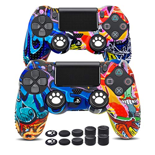 6amLifestyle PS4 Controller Skins 2 Pack, PS4 Controller Grip Silicone Anti-Slip Protector Case for Sony PS4, PS4 Slim, PS4 Pro (2 PS4 Controller Skin Cover with 10 Thumb Grips, Graffiti)