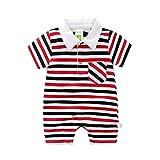 Baby Strampler Polo Body Neugeborenen Sommer Kurzarm Jungen Mädchen Gestreiften Overall Outfits, 0-3 Monate