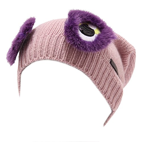 FENDI 4340U cuffia bimba misto cashmere rosa pink wool hat kid girl [I/38 CM]