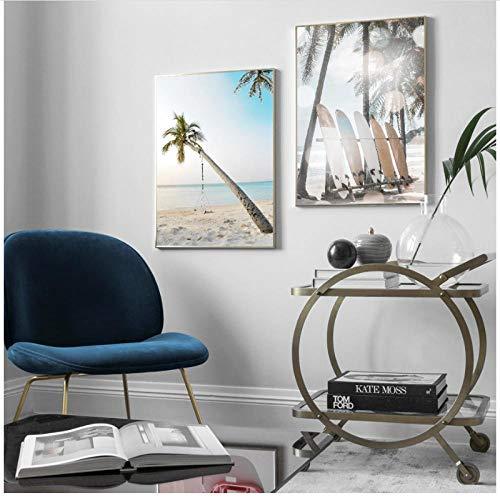KELEQI Wandkunst Nordische Leinwand Malerei Meer Strand Baum Schaukel Surfbrett Poster und Drucke Bilder Wohnzimmer Dekor -19.6