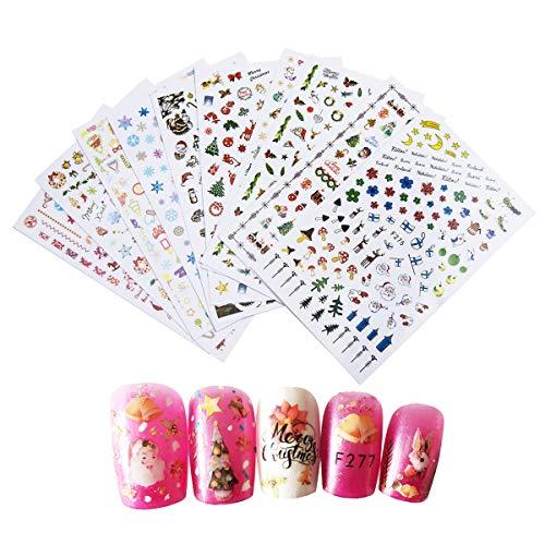 10 Hojas Pegatinas Uñas ,SenPuSi 3D Nail Art Stickers