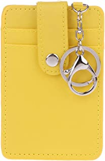 Hacloser Portable ID Card Holder with Key Ring Slim Wallet RFID Front Pocket Wallet Bus Cards Cover Case Keychain (Yellow)