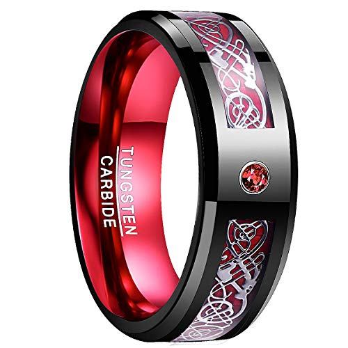 NUNCAD Tungsten Carbide Wedding Band for Men 8mm Celtic Dragon Red Carbon Fiber and Cubic Zirconia Inaly Size 11.5