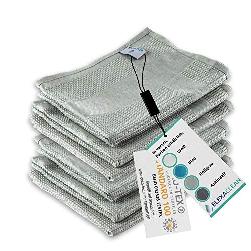 ELEXACLEAN Geschirrtücher Microfaser (6er Set, 68x42 cm, grau) - OEKO-TEX® STANDARD 100 - Geschirrhandtücher, Handtücher Küche modern