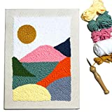 Wool Queen Punch Needle Kit/Landscape Rug Yarn Hooking Beginner Kit,14''x10'' with Wooden Punch Pen for Kids Adults Craft Gift-Impression Sunrise
