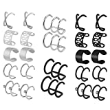 HOVEOX 12 Pairs Earrings Set Cuff Helix Cartilage Clip Stainless Steel on Ears Non Piercing Adjustable 6 Various Styles Silver and Black for Women Girls (Silver)