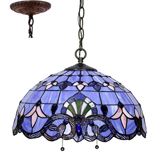 Tiffany Hanging Lamp 16 Inch Pendant Light Blue Purple Baroque Lavender Stained Glass Shade S003C WERFACTORY Chandelier Ceiling Fixture Dining Living Room Bedroom Study Office Coffee Bar Hallway Loft