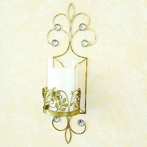 JewelryNanny San Miguel Antique Wall Sconce Candle Holder, Gold
