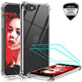 LeYi per Cover iPhone SE 2020 con 2 Pellicola Protettiva in Vetro Temperato, Antiurto Silicone Trasparente Custodia Rigida PC Bumper TPU Smartphone Case per Originale Apple iPhone SE 2020