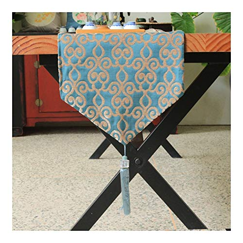 TUANZI Squisito Runner da tavolo Camino de Mesa Rectangular Corredor de poliéster Tabla per Feste, ristoranti e attività all'aperto (Color : Blue, Size : 32x200cm)