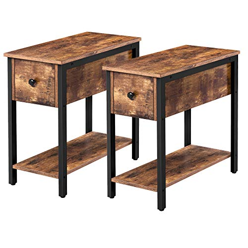 HOOBRO Set of 2 Narrow End Table, 2-Tier Nightstand with Drawer and Shelf, Side Table for Small Spaces, Stable and Sturdy, Wood Look Accent Table in Living Room, Bedroom, Rustic Brown BF04BZP201