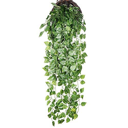 Jubang Plantas Artificiales Colgantes Enredadera Falsa Hoja Vid Artificial Maceta Planta Verde para Colgar Plastico Guirnalda Follaje para Jardin Interior Exterior # 1 Talla única
