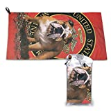 Bulldog Marine Corps Camping Towel-Ultra Soft Compact Quick Dry Microfiber Best Fitness Beach Hiking Yoga Travel Sports Backpacking & The Gym Fast Drying & Free Bonus Washcloth Hand Towel