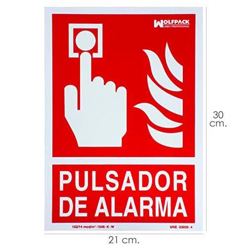 Cartel/Señal Fluorescente Pulsador Alarma 30x21 cm.