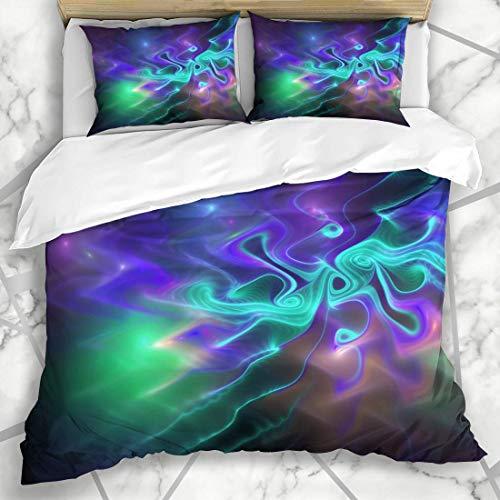 HARXISE Bettwäscheset Malen Sie die amorphe abstrakte glühende blau-grüne purpurrote Sich hin- und herbewegende Wellen-EIS-Schwarz-Chaos-Farbe Cyan-blau-dunkel Mikrofaser weich dreiteilig135*200