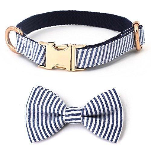 Gratis Sonntag Blau Gestreift Seersucker Fliege für Hunde Hund Halsband Hund Leine für Kleine Hunde, für Mittelgroße Hunde, Große Hunde, XL(17''-26'' Length), Blau
