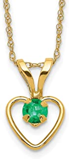 14k Yellow Gold 3mm Green Emerald Heart Birthstone Chain Necklace Pendant Charm Fine Jewelry For Women Mothers Day Gifts F...