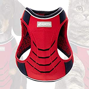 Auroth Step-in Dog Harness Cat Harness Walking Escape Proof Vest Harness for Kitten Puppy Breathable Soft Mesh Padded Dog Harness Reflective Pet Harness for Small Medium Dog