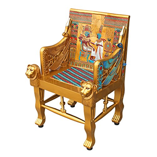 Design Toscano King Tutankhamen's Tomb Egyptian Throne Chair, 41 Inch, Gold