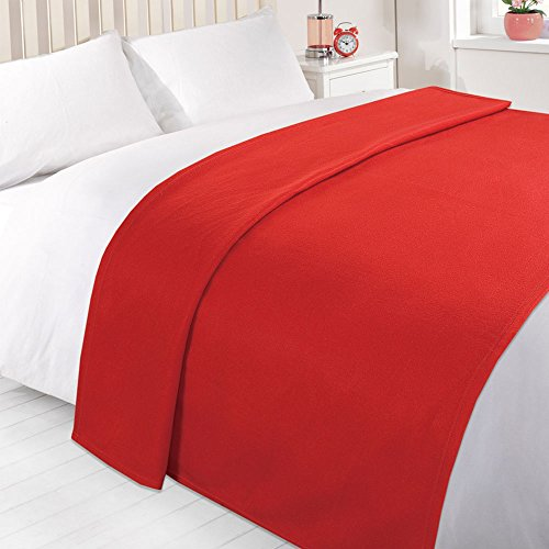 Dreamscene Warm Soft Plain Red Fleece Throw Over Sofa Bed Blanket 120 x...