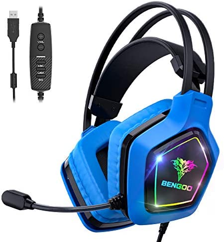 BENGOO USB Pro Gaming Headset for PC PS4 7 1 Surround Sound Gaming Headphones with Noise Cancelling product image