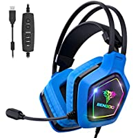 Bengoo 7.1 Surround Sound USB Pro Gaming Headset with Noise Cancelling Mic for Laptop Mac Nintendo 64