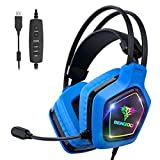 BENGOO USB Pro Gaming Headset for PC PS4, 7.1 Surround Sound Gaming Headphones with Noise Cancelling Mic, in-Line Volume/Mic/EQ Control, Soft Memory Earmuffs RGB Lights for Laptop Mac Nintendo 64