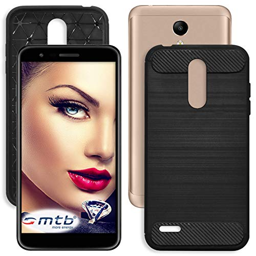 mtb more energy® Hülle Carbon für LG K11 (5.3'') - Schwarz - flexibel - TPU Case Cover Tasche Schutzhülle