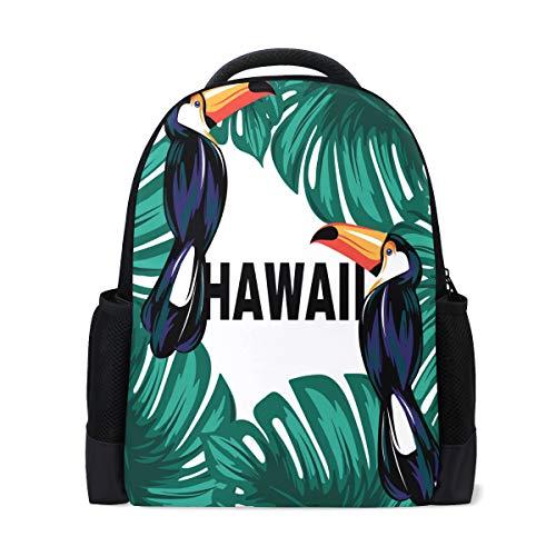 Mnsruu Mochila Escolar para niñas y niños, Hojas de Palmera Hawaiana, Mochila Informal para Laptop