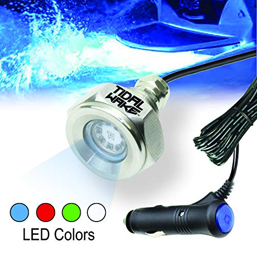 Tidal Wake Plug N  Play Underwater LED Boat Drain Plug Light for Boats with 1 2  Threaded Drains. No Wiring, No Holes to Drill Plugs into Accessory Outlet, Add Lighting in Minutes! (Blue)