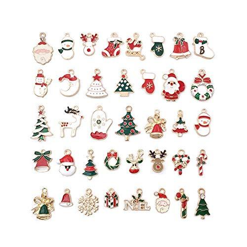 Yesoa 76Pcs Mixed Christmas Charms Enamel Pendants, Xmas Assorted Gold Plated Enamel for DIY Necklace Bracelet Jewelry Making Craft