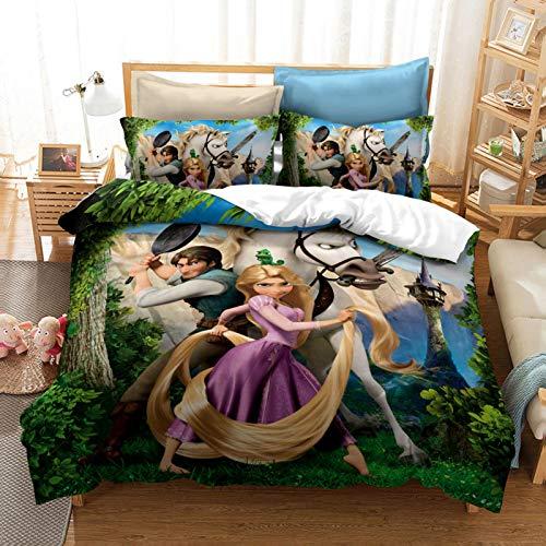 ZJJIAM Princess Anime Mulan Princess Ropa de cama infantil 200 x 200 ELSA Anna Girls Funda nórdica Queen cama (12,135 x 200 cm + (80 x 80 cm)