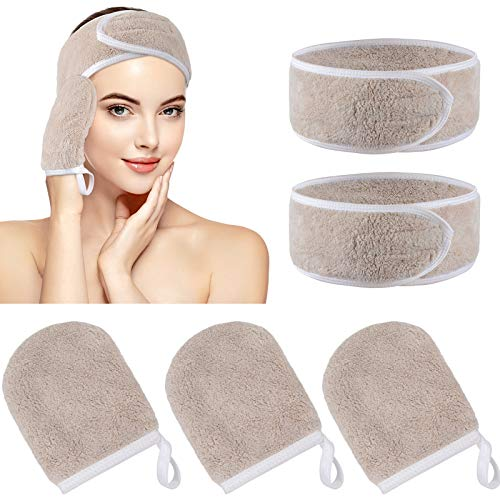 KinHwa Gant Démaquillant Microfibre Réutilisable Démaquillant Chiffon Bandeau Maquillage Set Marron
