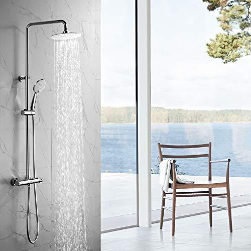 OLEAH Chrom Duschsystem Thermostat Duschset Regendusche Duscharmatur Handbrause mit 3 Strahlen Duschsäule und Überkopfbrause Duschstange