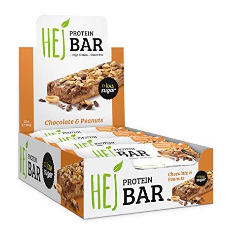 HEJ Protein Bar   Chocolate Peanuts - 12 x 60 g   Premium Proteinriegel   Weniger Zucker & ohne Palmöl