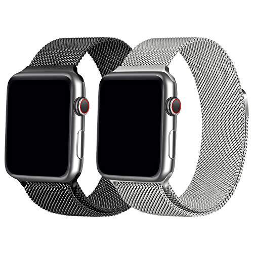 Vancle コンパチブル Apple Watch バンド 38mm 40mm 42mm 44mm ミラネーゼループ アップルウォッチバンド コンパチブルApple Watch Series5/4/3/2/1に対応 ステンレス留め金 (42mm/44mm, 2色セット ブラック+シルバー)