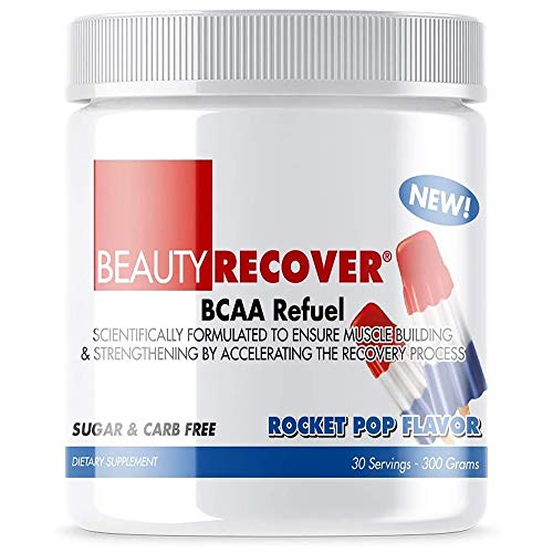 BeautyFit - BeautyRecover BCCA Refuel Powder - Reduces Muscle Soreness - Activate Protein Synthesis - Decreases Protein-Breakdown - Rocket Pop - 11 oz