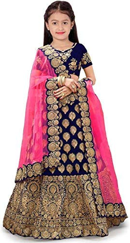 Indian Kids Girl Dress Girl Jacquard /& Silk Semi-Stitched Girl/'s  Lehenga Choli Kids Dress Lehenga Choli Lehenga Choli for Kids Girls