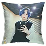 IOAOAI Jungkook Pillow Covers Standard Size Square Pillowcase Pillow Cushion Cover for Sofa Couch Decor Home Decorations 18'X 18'Inch