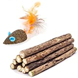 WoLover Cat Catnip Sticks Natural Matatabi Silvervine Sticks - Cleaning Teeth Molar Tools Kitten Cat Chew Toy Natural Catnip Mouse Cat Toy (10 PCS)