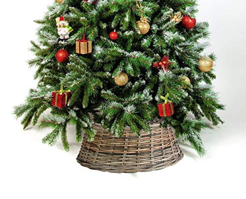 Wrenbury Christmas Tree Skirt Rattan Wicker in Medium 52cm | Xmas Tree Skirt Skirts Stand Traditional Decoration Handcrafted Natural Festive Sturdy Cover