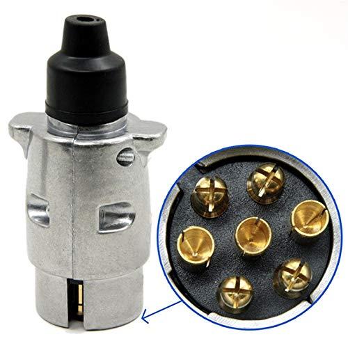 yijiang Nuevo Adaptador de Remolque For caravanas, Enchufe del Remolque 10cmx4cm 7 Pin, Coche, Cable eléctrico, Adaptador de Metal Macho Redondo (Color : Silver)