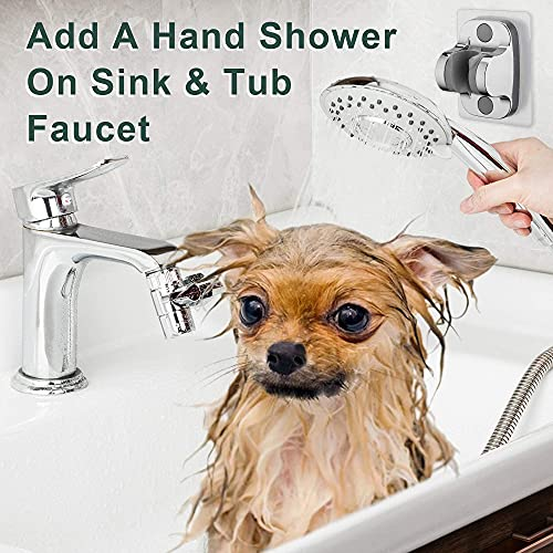 ZCONIEY Sink Faucet Sprayer Rinser Set, Faucet Hose Shower Quick Connect on Kitchen Bathroom Faucet Bath Tub Spout, w/ 5 Feet Shower Hose for Easy Hair Washing Dog Baby Bathe