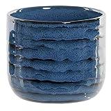 Hogar y Mas Macetero Azul Gres Original, Decoración Exterior/Interior. Jarrón Moderno 13,5x12 cm