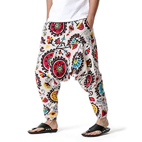 GenericBrands Taurner Hombres Pantalones de Harén Estampados Pantalón de Algodón Cintura Elástica Pata Ancha Baggy Pants Casuales