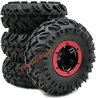FidgetKute 4pcs RC Air Pneumatic Tires OD 130mm & 2.2 Beadlock Wheels for RC Crawler Truck Show One Size